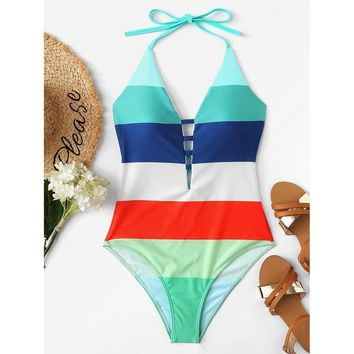 Ladder Cutout Striped Swimsuit