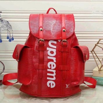 VONEB7T LV SUPREME Women Shopping Leather Metal old plaid Backpack red Khaki G-LLBPFSH