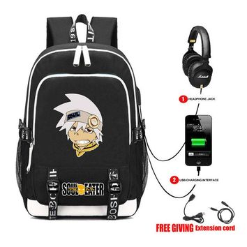 Anime Backpack School kawaii cute Soul Eater Backpacks Multifunction USB Charge Headphone Jack Laptop Bags Teenagers Travel Bags student book bag 7 style AT_60_4