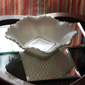 Vintage Hazel Atlas Diamond Square Mid-Century White Milk Glass Square Candy Dish Wedding Decor
