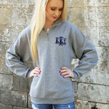 Monogrammed Quarter Zip Pullover, Monogram Quarter Zip Sweatshirt, Christmas Gift for Her, Gift for Girlfriend, Gift for Wife