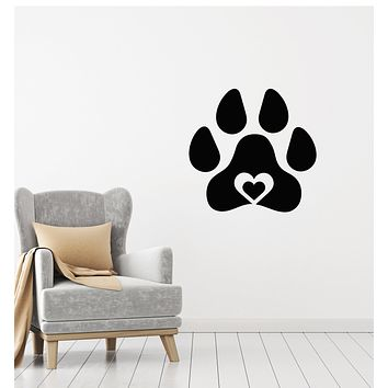 Vinyl Wall Decal Pets Love Paw Print Home Animals Heart Symbol Stickers Mural (g1843)