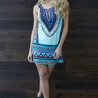 Mint Green Tribal Printed Tank Dress