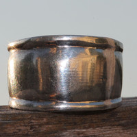 Wide Stackable Band Ring Sterling Silver Bohemian