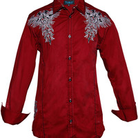 Roar Men's Lordship Embroidered Shirt Red