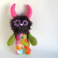 Stuffed Animal Monster Doll Purple Plush Toy Kawaii Plush Softie Orange Green Yellow Pink Blue Colorful Snuggly Cuddly Cute Flower Huggable