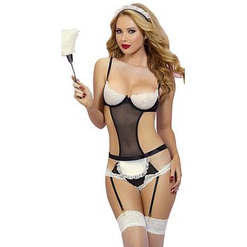 Sexy French Maid Teddy Set with Headpiece, Apron and Removable Garters