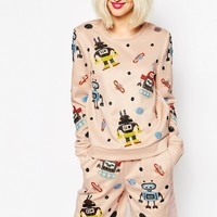 ASOS Sweatshirt With Embellished With Robots Co-ord