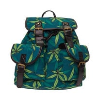 WEED LEAF Printing backpack women leather bag Who Cares 2016 Fashion New school