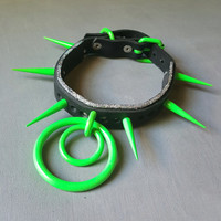 Alien- Genuine Leather Holographice Glitter Neon Green Spiked DDLG Industrial Cybergoth Collar