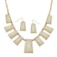 Gold Tone Fashion Necklace and Earring Set with Faceted Ivory Acrylic