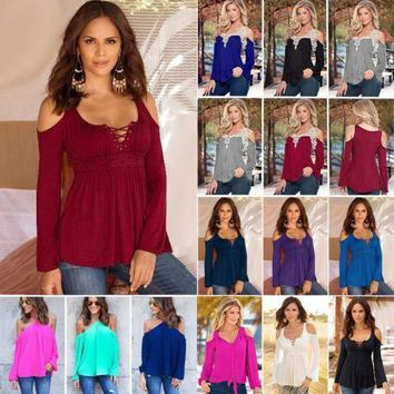 Summer Womens Cut Out Cold Shoulder Loose Tops Long Sleeve T-shirt Casual Blouse