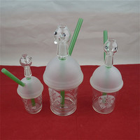 Stock Starbucks Cup Water pipe Glass Bongs hookahs Mini Bubbler Shisha Pipe Hookah Weed pipes For Smoking Glass Oil Rigs