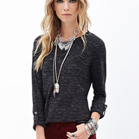 FOREVER 21 Slub Knit Pocket Tee Charcoal/White