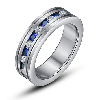 Stainless Steel Eternity Ring W. Blue and Clear Cubic Zirconia