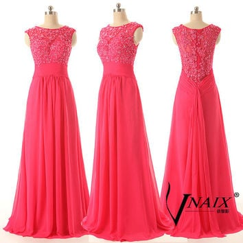 Elegant Custom Made Cap Sleeve A Line Long Chiffon Formal Red Lace Prom Dresses 2014 Evening Dresses Mother of the Bridal Dress