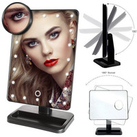 20 LED Light Beauty Makeup Mirror Rotatable 10X Magnifying Touch Screen Vanity Square Desk Stand Cosmetic Mirror Make Up Tools