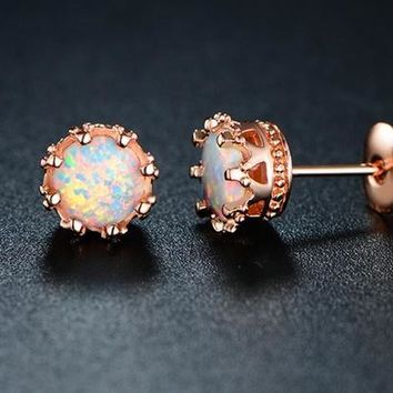 Fire Opal Crown Stud Earrings in 18K Rose Gold Plating
