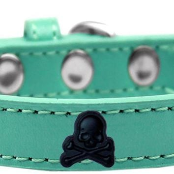 Skull Widget Dog Collar Aqua Size 20