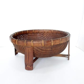 Asian Woven Willow Bowl with Bamboo Legs, Large Wicker Display Basket, Storage Display, Chinoiserie Boho Jungalow Style