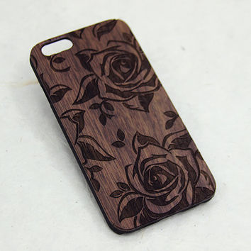 Roses Wood Phone Case - Cute Floral Engraved iPhone Case - iphone 4/4s 5/5s 5C 6 cover flowers nature