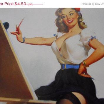 "MOVING SALE 12.5 x 9.5"" Large Vintage Pin Up Print"