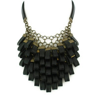 Black Leather Cluster Statement Necklace Leather Jewellery Leather Necklace
