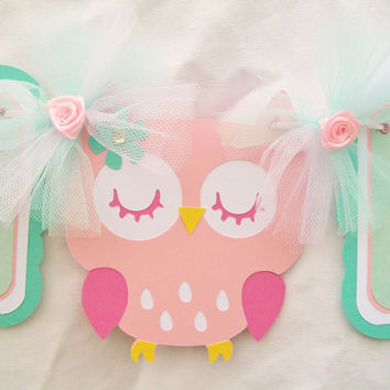 Pink owl baby shower banner,  its a girl, teal, white and pink - READY TO SHIP