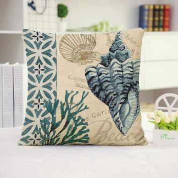Shells Cotton Linen Pillow Cover