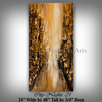 "Large Wall Art CITYSCAPE ABSTRACT PAINTING ""City Nights"" Artwork Landscape Black Gold Modern Painting Contemporary Art Decor, Artist Nandita"