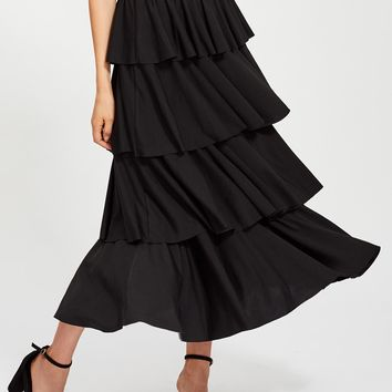 Zip Closure Layered Ruffle Skirt