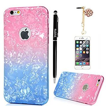 "iPhone 6S Plus Case,iPhone 6 Plus Case (5.5"") - Water Wave Pattern Series Slim Fit Shock-absorption Colorful Soft TPU Protective Gel Bumper Clear Rubber Skin Gel Case Cover by Badalink - Pink/Blue"