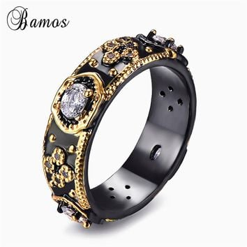 Bamos Punk Male Female Unique Finger Ring Fashion Black Gold Filled Jewelry Vintage Wedding Rings For Men And Women