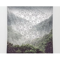 Mist Mountain Forest Geometric Circle Mandala Polyscape Wall Tapestry