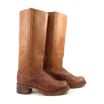 Campus Boots Vintage 1970s Whiskey Brown Dingo Leather Women's size 8