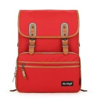[HotStyle Basic Classic] SmileDay Vintage Laptop Backpack for College School, Red