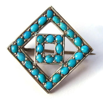 Vintage Edwardian Persian turquoise and sterling silver brooch, C clasp, small size. Dates from early 1900s. #204.