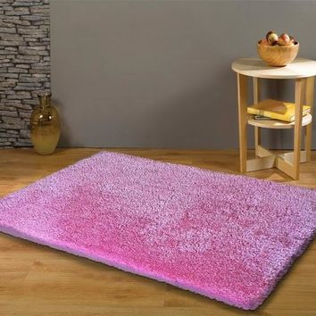 Hand Tufted Shag Viscose Solid Area Rug PINK