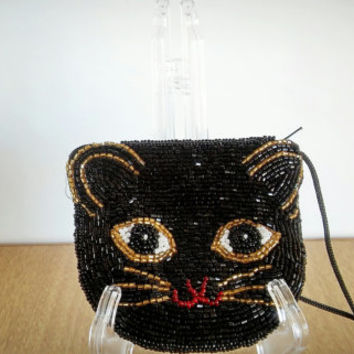 Sakura Beaded Cat Purse, Vintage Beaded Handbag Black Cat, Japan Beaded Coin Purse