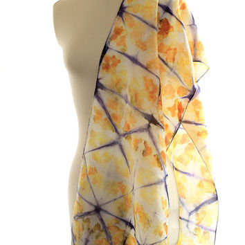 geometric silk scarf shibori shawl eco print habotai logwood onion dyed silk yellow orange print blue purple scarf christmas gift for her