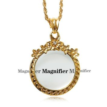 Classic Flower Blossom Magnifying Glass Chain Pendant Necklace