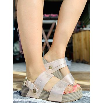Blowfish Malibu Marge Wedge Sandals in Metallic Rose Gold