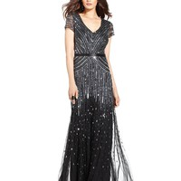 Adrianna Papell Cap-Sleeve Beaded Sequined Gown