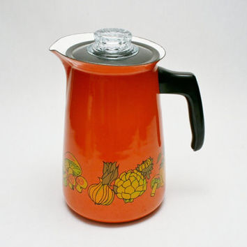 Never Used Enamelware Coffee Pot with Vegetable Graphics Mid Century Modern from the 1960s FINEL Kitchen Cookware Percolator Coffeepot
