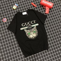 """Gucci"" Unisex Casual Fashion Embroidery Sequin Cat Head Letter Print Couple Short Sleeve T-shirt Top Tee"