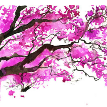 Watercolor Japanese Cherry Blossom Tree Painting, Jessica Durrant - The Cherry Blossom Tree print