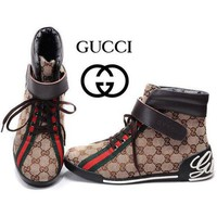 GUCCI Women's Fashion High Top Quality Sneakers