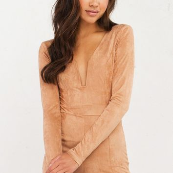 SQUARE TO THE TOP SUEDE ROMPER