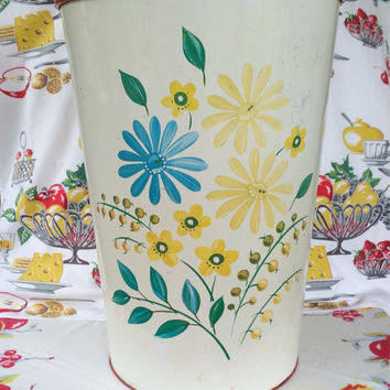 1940s Tin Trashcan Colorware Handpainted Metalware  Waste Paper Basket Like Ransburg