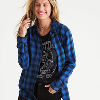 AEO Plaid Boyfriend Shirt, Cobalt Blue